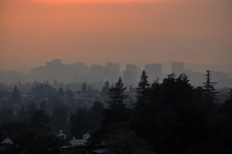 Hazy view of downtown Oakland