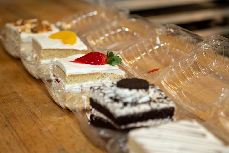 Variety of slices of cake sold at Bakery El Sol