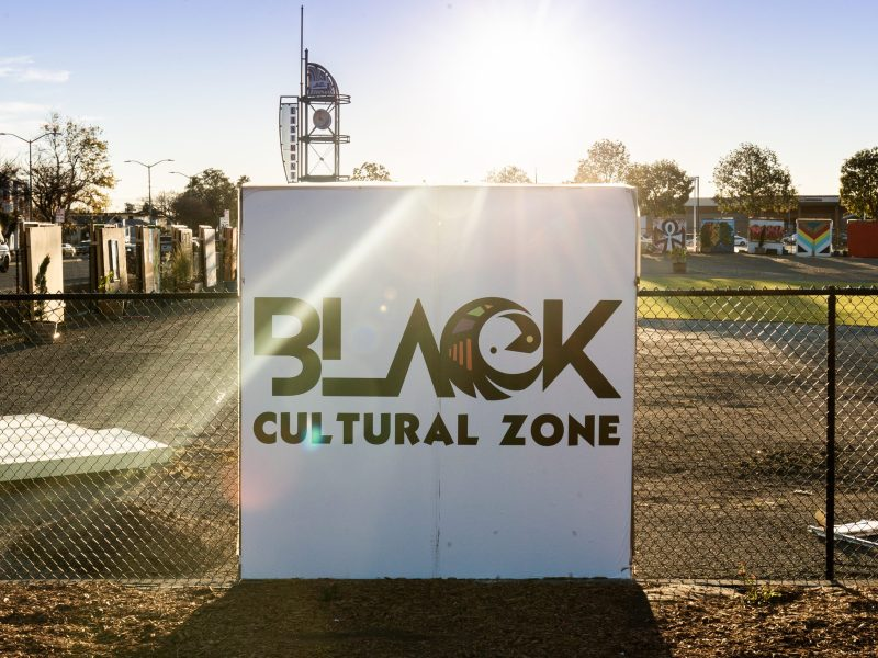 Black Cultural Zone signage at Liberation Park in East Oakland.