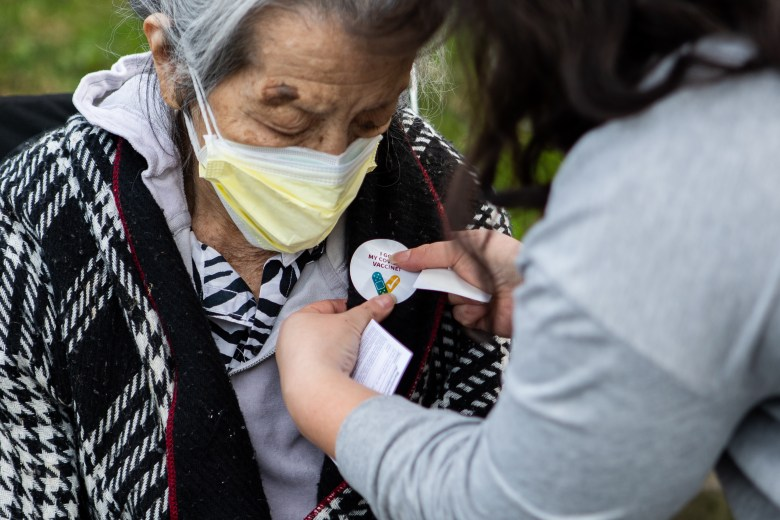 Grandmother of Azucena, Oaklandside reporter after receiving the COVID-19 vaccine in Emeryville.