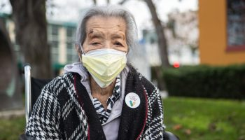 Grandmother of Azucena, Oaklandside reporter after receiving the COVID-19 vaccine in Oakland