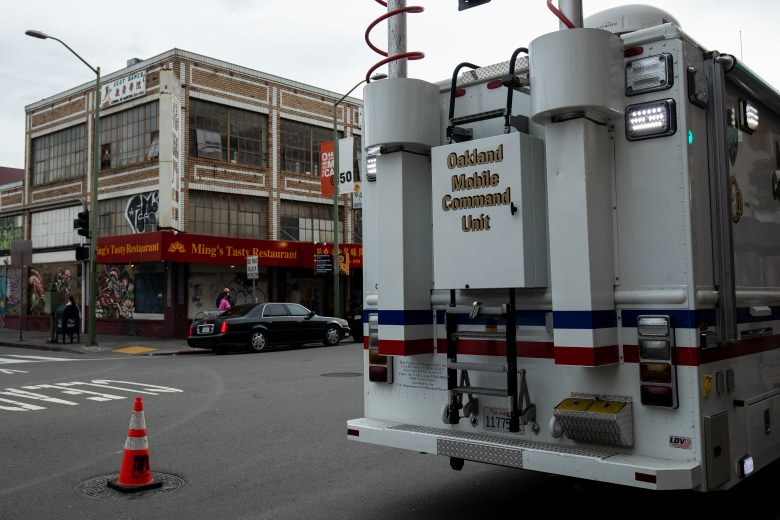 Oakland Mobile Command Unit, a surveillance vehicle, parked in Chinatown after police receive pressure to patrol the area.