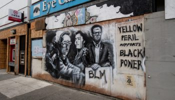 """""""Yellow Peril Supports Black Power"""" mural in Chinatown. One of the many murals in the area supporting Asian and Black American unity."""