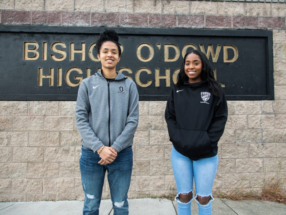 Morgan Jenkins (Left) and Tyra Hamilton (Right) of Bishop O'Dowd's Varsity basketball team.