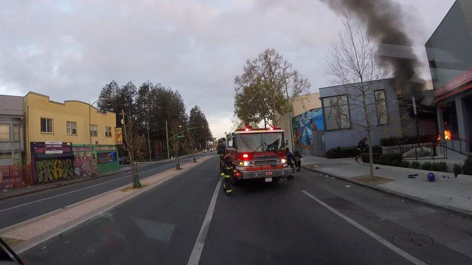 fire truck responding to fire