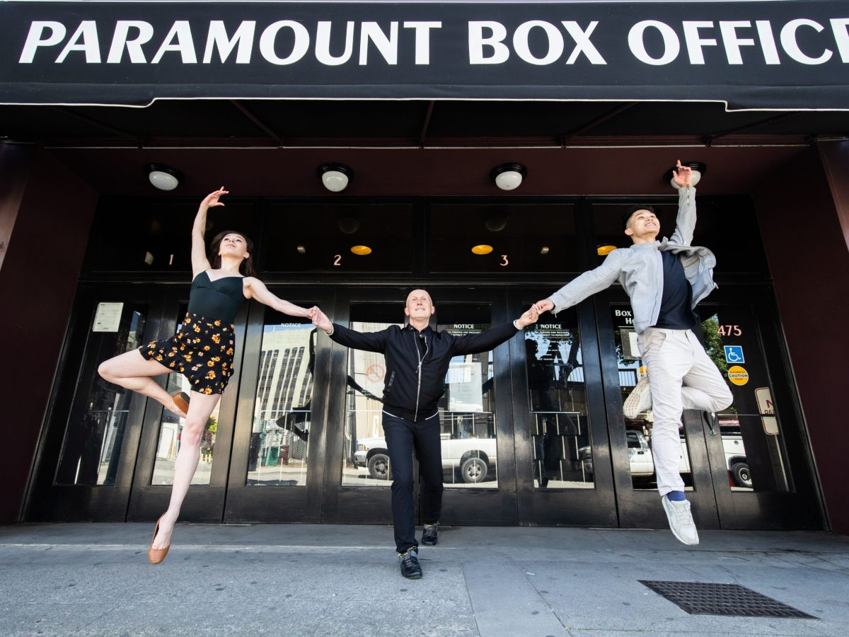 Graham Lustig (middle) with Oakland Ballet dancers Lawrence Chen (right) and Jazmine Quezada (left).