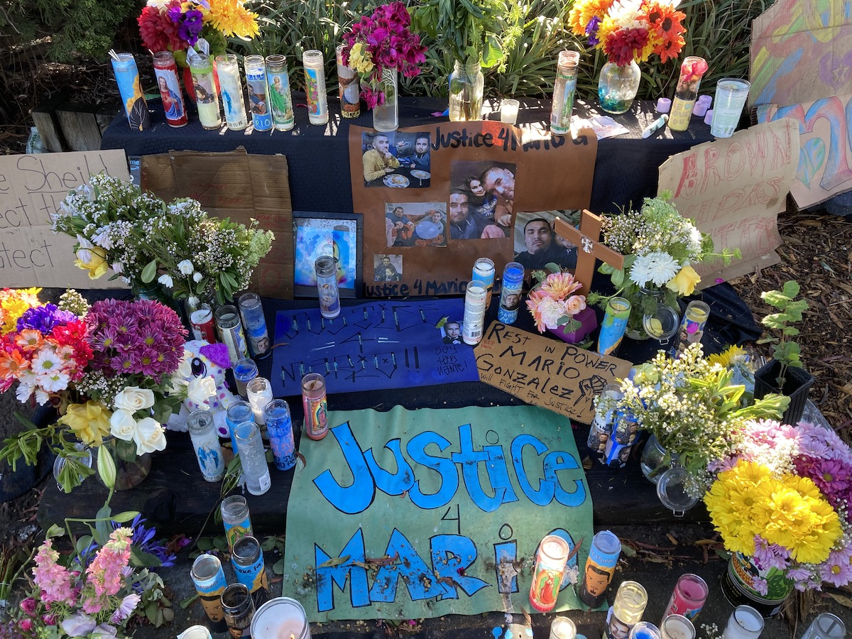 A memorial to Mario Gonzalez set up in the park in Alameda where he was killed by police.