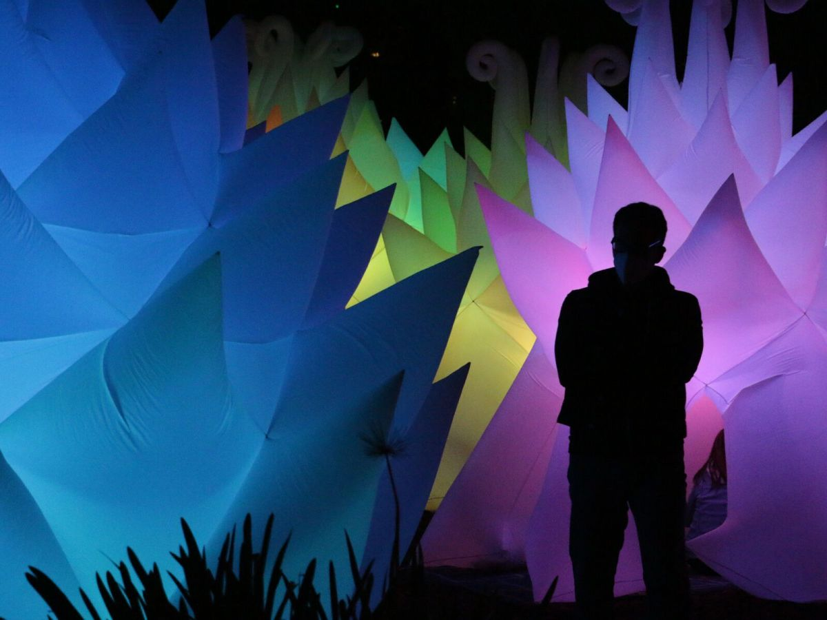 """An attendee poses in front of Stan Clark's """"The Space Garden."""""""