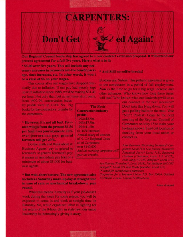 This was the original leaflet that got the word out to the members and led to the original protest against the contract.
