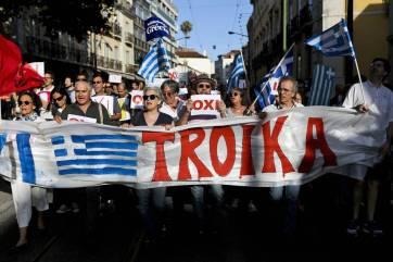 Portuguese workers march in support of the struggle of Greek workers against austerity.