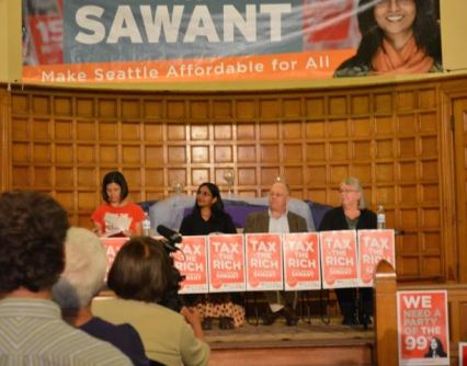 Oakland forum. From left to right: Erin Brightwell, chair, Kshama Sawant, Chris Hedges, Gail McGloughlin