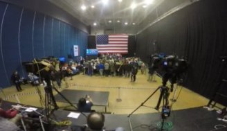 Just days before the vote in Iowa, a tiny crowd turns out to hear Hillary Clinton in Dubuque.