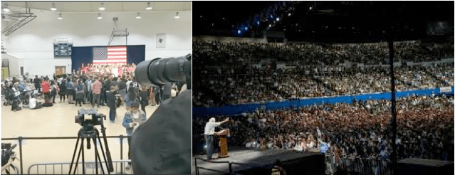 A Hillary Clinton rally in Los Angeles (left) and a Sanders rally in L.A. (right). Can we really totally discount the size of the crowds as far as the election results?