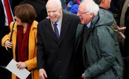 Bernie Sanders and Nancy Pelosi happily attending the convention with right wing Republican war hawk, US Senator John McCain. The liberal wing of the Democratic Party is the bait for the trap.