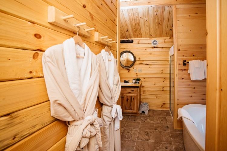 Plush Robes & Freestanding Shower