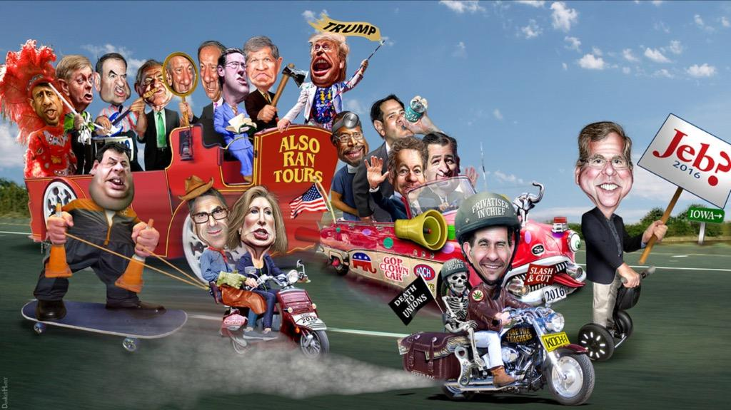 Caricature of the GOP candidates from flickr created by DonkeyHotey