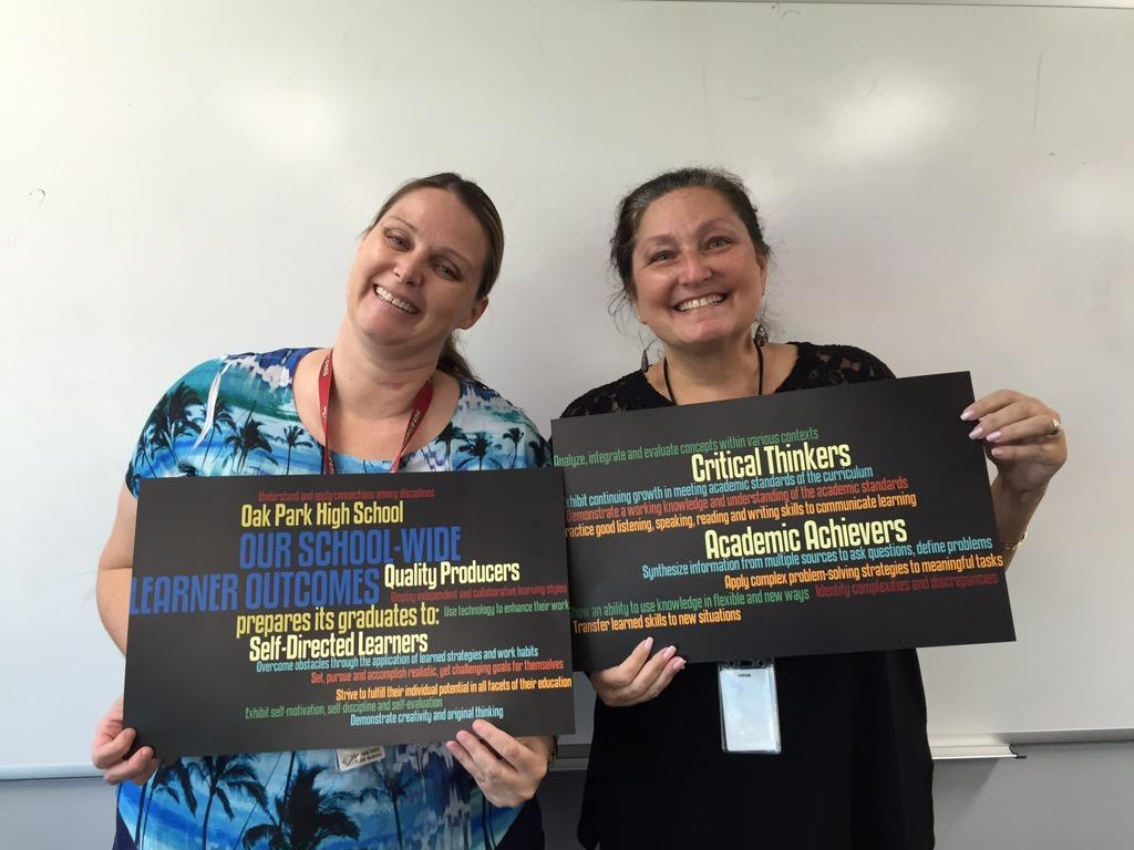 Math teachers and WASC chairpersons Cathy Lory (left) and Robin Midiri (right) pose for a photograph. Lory and Midiri are overseeing the process by which the school receives its accreditation (Photo illustration by Akshita Dondeti/Talon).