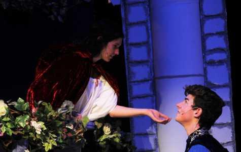 Seniors Jenna Kealer and Nick Singley portray Juliet and Romeo in the famous balcony scene (Photographs courtesy of Zoraida Kerr).