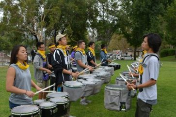 Walnut Valley High School's drumline performs at DOC rally Aug. 27 (Stephen Burt/Talon).