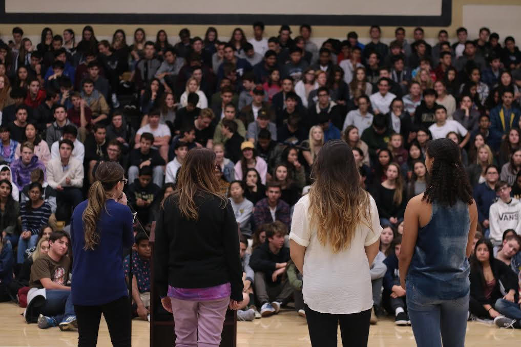 The Peer Counselor Team addresses student body during school wide assembly, Jan. 17. Counselors teamed up with the Anti-Defamation League along with key speaker Judy Shepard who spoke about her son Matthew's murder to raise awareness about the LGBT community (Courtesy of Jaron Flynn).