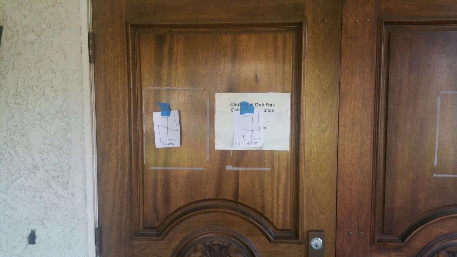 Chabad of Oak Park discovered notes praising Adolf Hitler on its doors Feb. 11. The temple has faced anti-Semitism as recently as 2010, when a note was spray-painted on its walls (reprinted with permission from Ventura County Sheriffś Department).