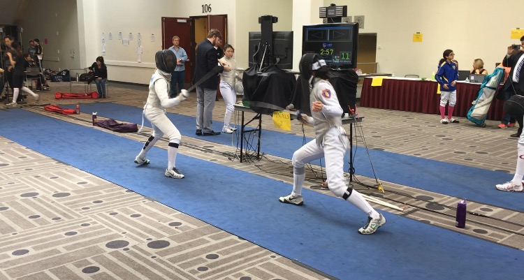 Tiffany Lu, left, competes at the Regional Junior Cadet Circuit in Pasadena, CA. All my Junior Olympic experiences are meaningful and memorable, Lu said.