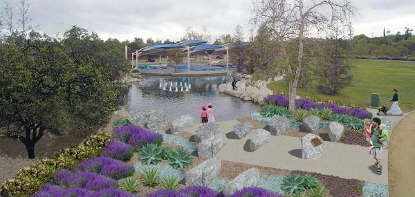 Mooney's rendering of the planned blujepring of the Healing Garden in Thousand Oaks.