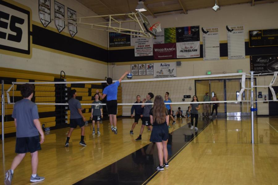 Students participate in a volleyball game during their PE classes.