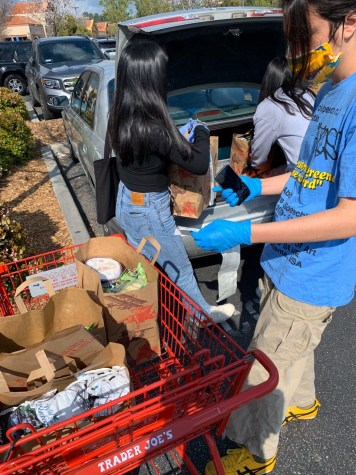 Julianna Lozada and others from Six Feet Supplies take precautions and sanitary measures when picking up groceries for vulnerable in their neighborhood.