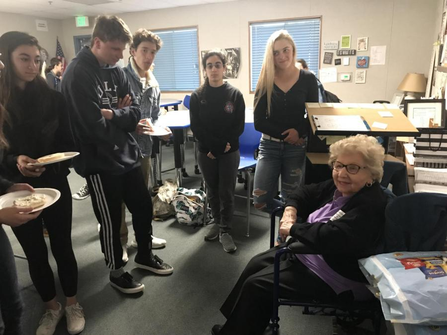 After Holocaust survivor Edith Frankie discusses the idea of hate, Leslie Millers preceding English II students consume bagels, potato chips and Edith Frankies stories.