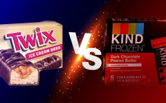 A Twix ice cream box faces off against KIND Frozen packaging. Medved claimed that the KIND Frozen box struggled to convey the actual product.