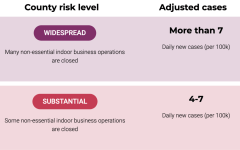 This diagram depicts the different country risk levels. Ventura Country lowered from