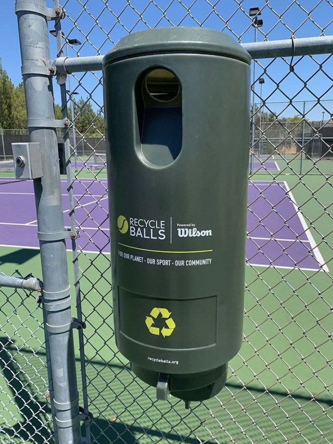 Photo by Navya Batra: One recycling canister on one court, 5 total on the 6 courts at OPHS