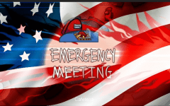 The Emergency Meeting symbol from the game Among Us flies on a rippling American flag. With election season increasing polarization among Americans, the Editorial Board wished to present an argument for unity.