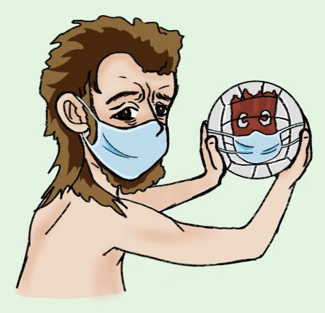 "A cartoon depiction of Chuck and his volleyball, Wilson, from ""Cast Away."""