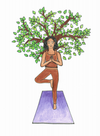"Depiction of a person doing a ""tree-pose"" yoga technique."