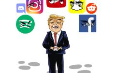 Donald Trump pictured below various social media platforms, some of which he was banned from.