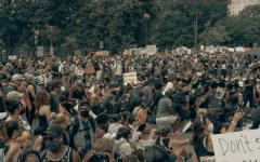 Demonstrators kneel during a peaceful Black Lives Matter protest.