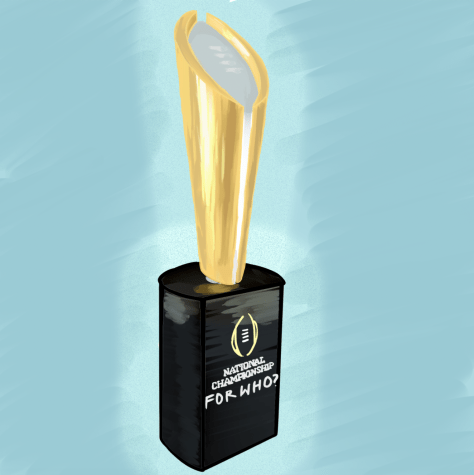 "The College Football Playoff Championship Trophy depicted in a cartoon with ""FOR WHO?"" inscribed on the nameplate."
