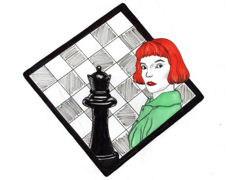 Illustration of Beth Harmon (played by Anya Taylor-Joy) in front of a chess board.