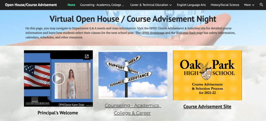 Screenshot of OPHS open house home page website.