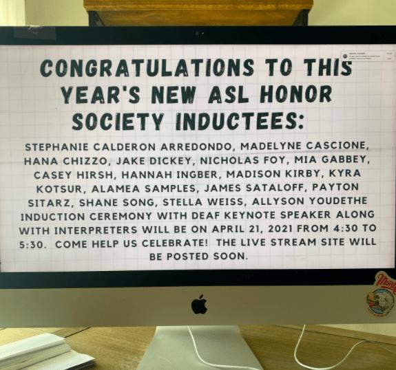 Screenshot of the ASL Society 2021 inductees