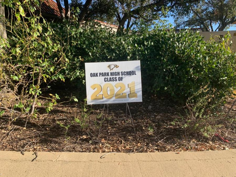 Class of 2021 sign displayed in the parking lot of OPHS in front of the Pavilion.