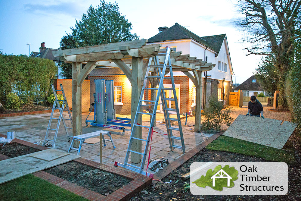 Oak Pergola Build Project Photos Oak Timber Structures