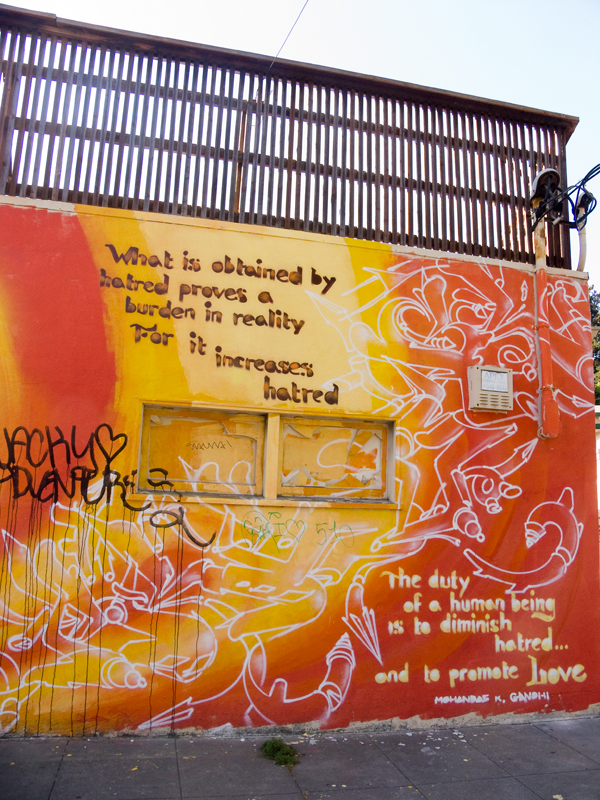 mohandas k. gandhi, mahatma gandhi, mural art, oakland mural