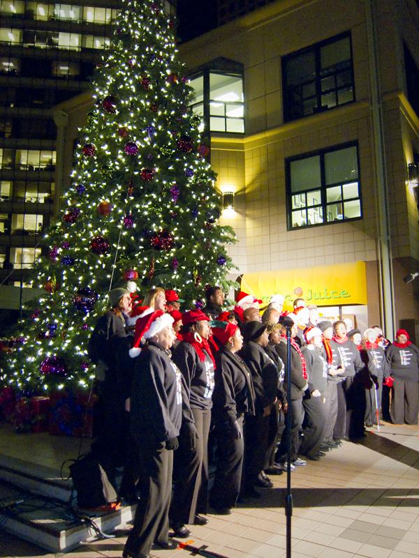 gospel choir at city center, city center tree lighting