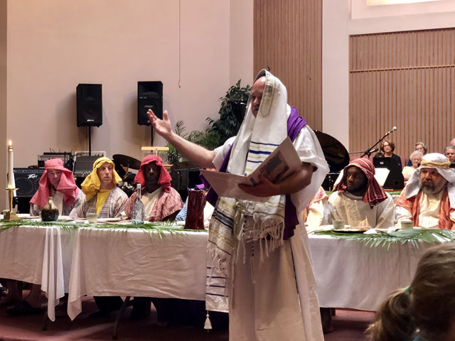 Maundy Thursday Ceremony, Rabbi Chanting, Oakwood United Methodist Church, Lubbock Texas