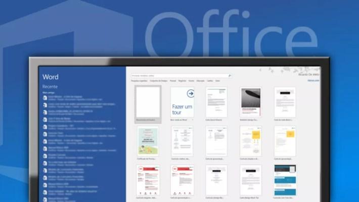 Em fundo azul, monitor mostrando a tela de início do Office 2016