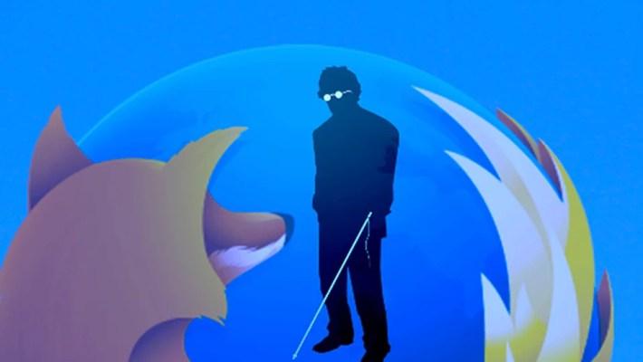 Imagem mostra a silhueta de uma pessoa com deficiência visual dentro do logotipo do Mozilla Firefox;o logotipo do Firefox é uma raposa de fogo