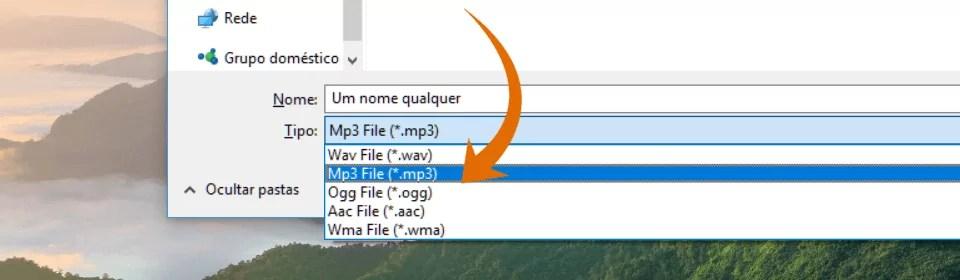 Janela de diálogo salvar; Há uma seta laranja apontando para a opção formato do arquivo